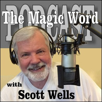 Scott wells recording a magician podcast episode of the Magic Word Podcast