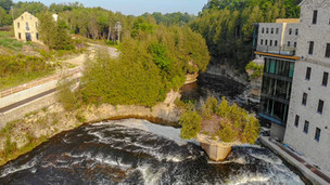 Elora Gorge Drone Shot at the Elora Mill and Tooth of Time