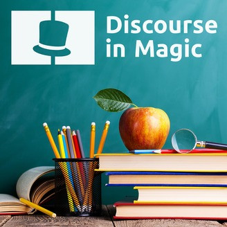 Magician books and an apple with the Discourse in Magic Podcast logo