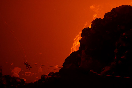 Ziplining with a volcano and lava