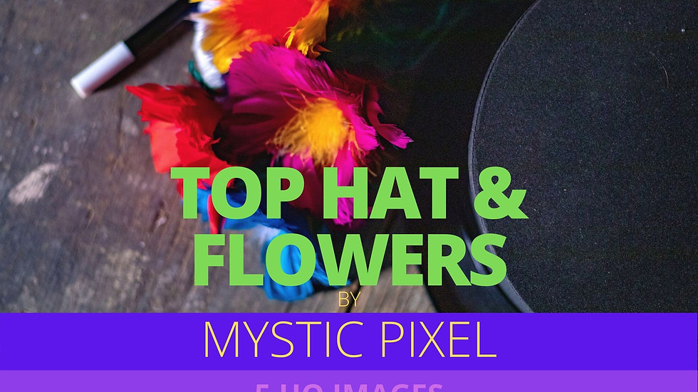 5 Magician Top Hat, Wand & Flowers