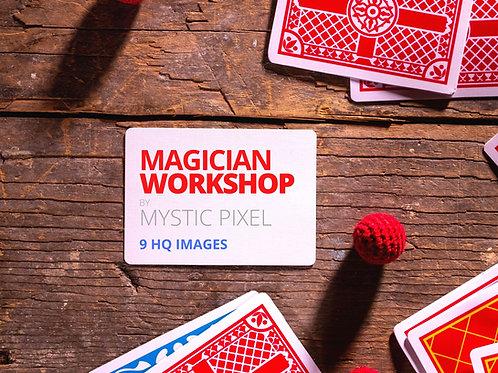 9 Magician Workshop Images /w Cards, Top Hat, Cups & Balls