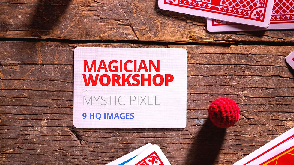 9 Magician Workshop Images /w Cards, Top Hat, Cups & Balls