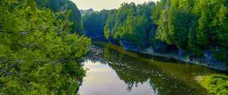 A view down the grand river and the Elora Gorge on the a summer day