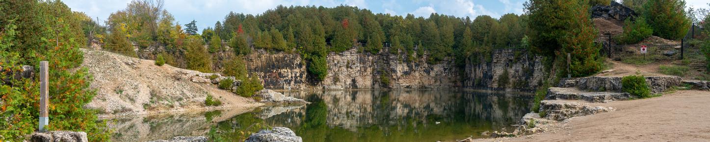 Elora quarry panorama shot on a beautiful fall day