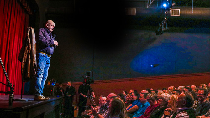 Mike Bullard on stage at the Fergus Grand Theatre