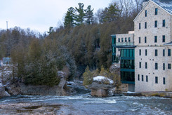 Waterfalls at the Elora Mill along the Grand River and Elora Gorge