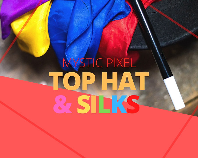 5 Magician Top Hat, Wand & Colorful Silks