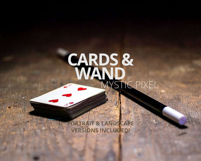 Cards & Magician Wand on a Wooden Table