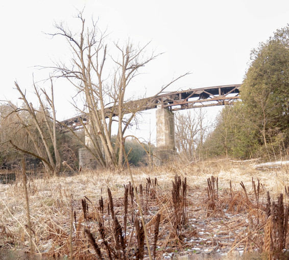 Winter shot of the Trestle Trail Bridge from river floor