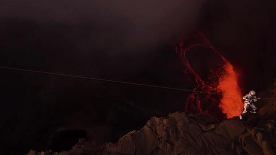 Climbing the wall of a volcano