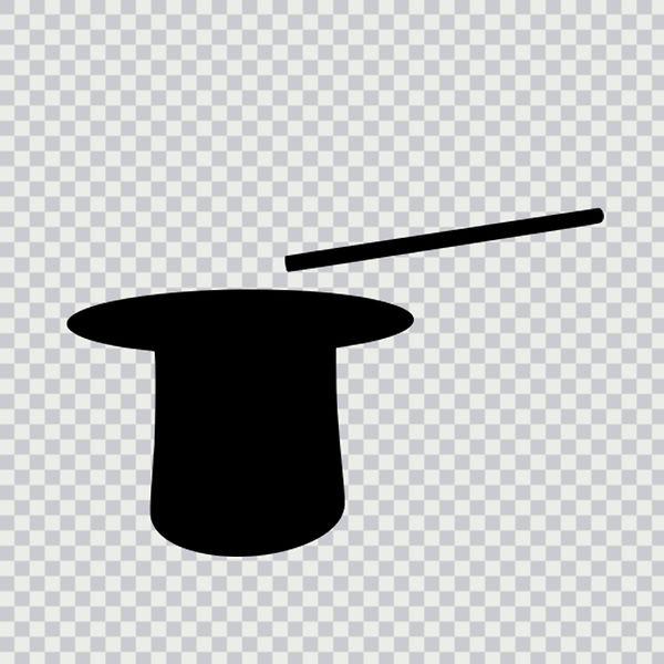top hat, magician hat, magic wand