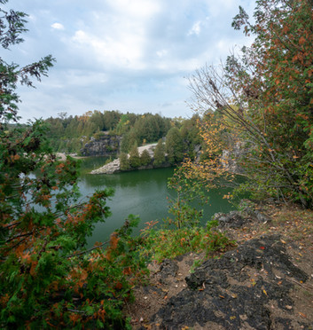 Elora quarry wide shot on a summer day