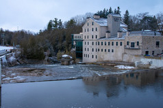 Elora Mill and cascading waterfalls