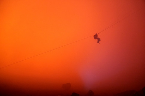 Hanging over a volcano