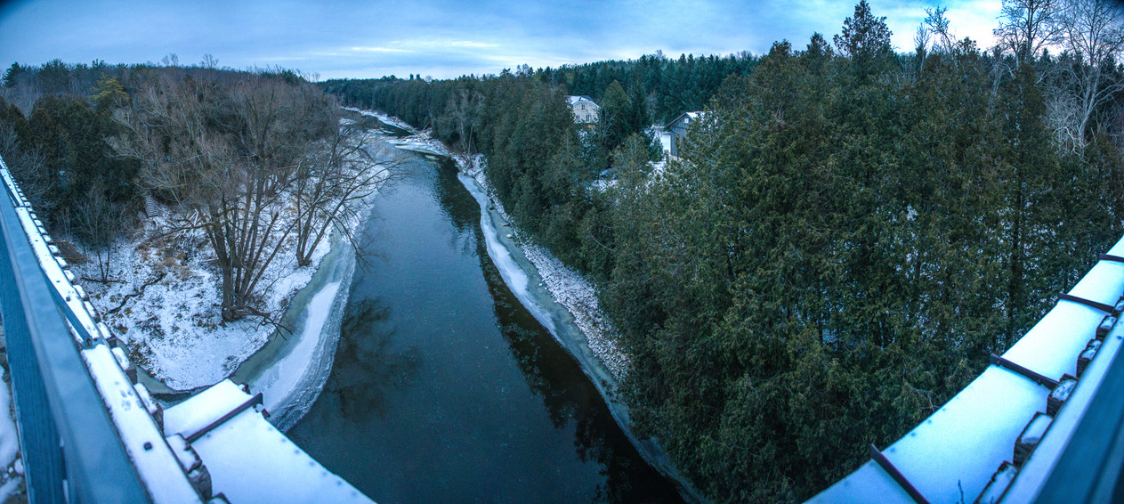 Snowy view from the top of the Trestle Trail Bridge along the Elora Cataract Trail