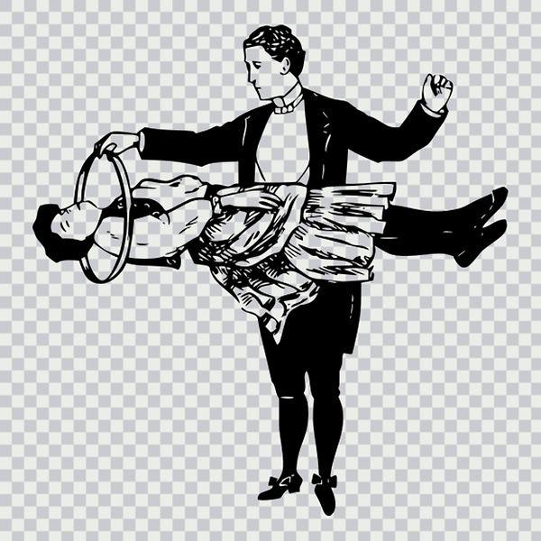 magician, illusionist, levitation, magician assistant, black and white