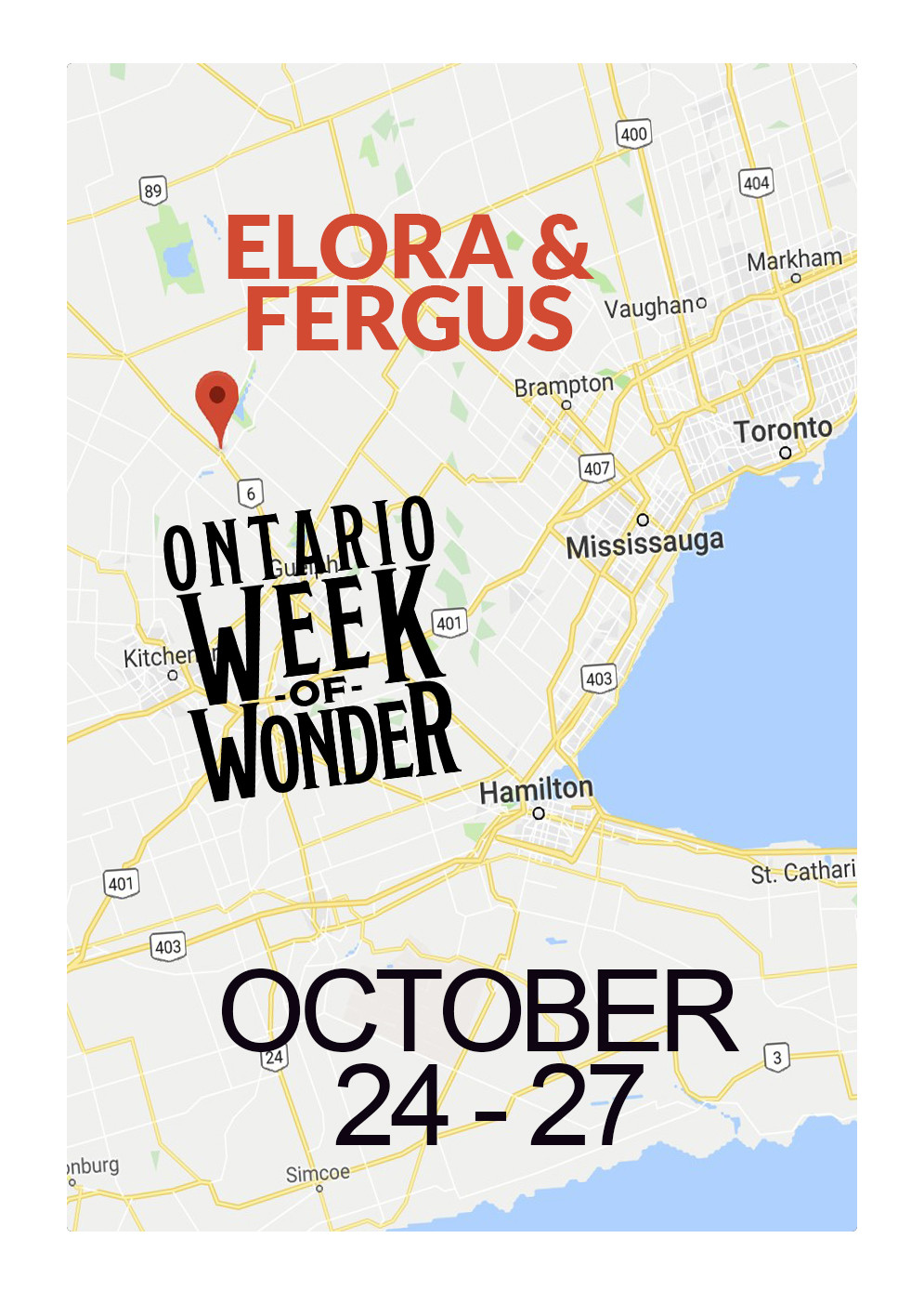map of Fergus and Toronto pointing out the location of the OWOW Magic Festival