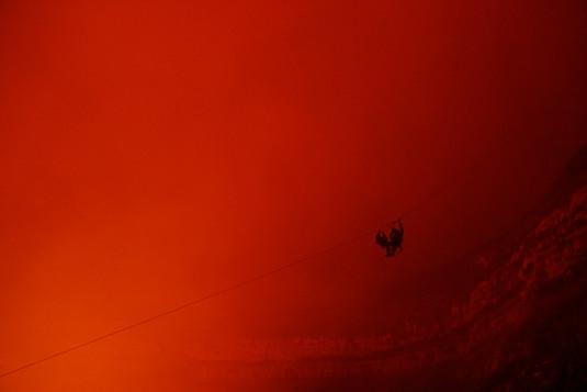 Zipline over a volcano