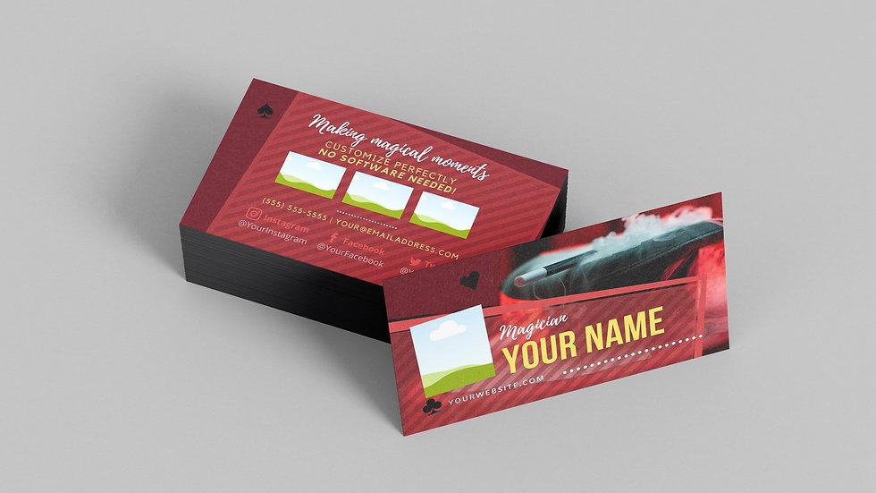 Business Card Template | Magician Smoke Top Hat & Wand