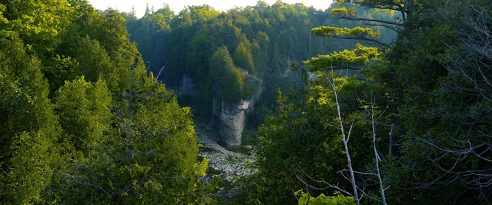A stone cliff limestone gorge walls have been cut by the river is lush with trees