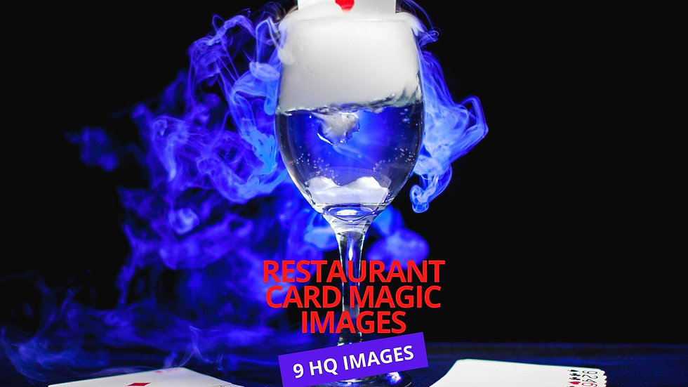 Magician Rising Card Trick from Wine Glass filled /w Smoke Images