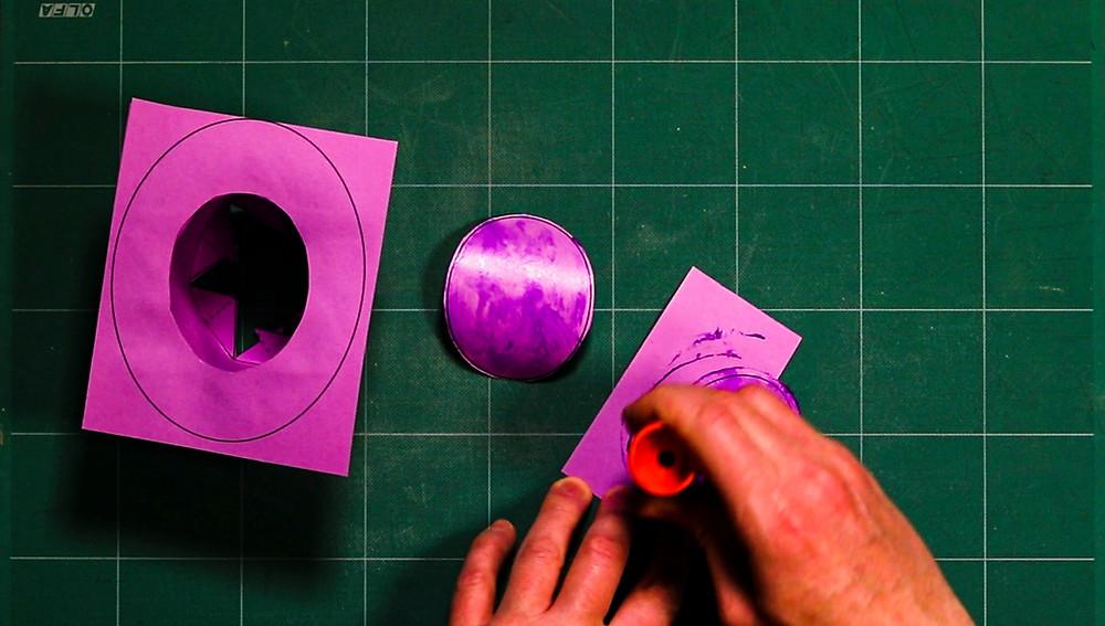 gluing paper top hat craft