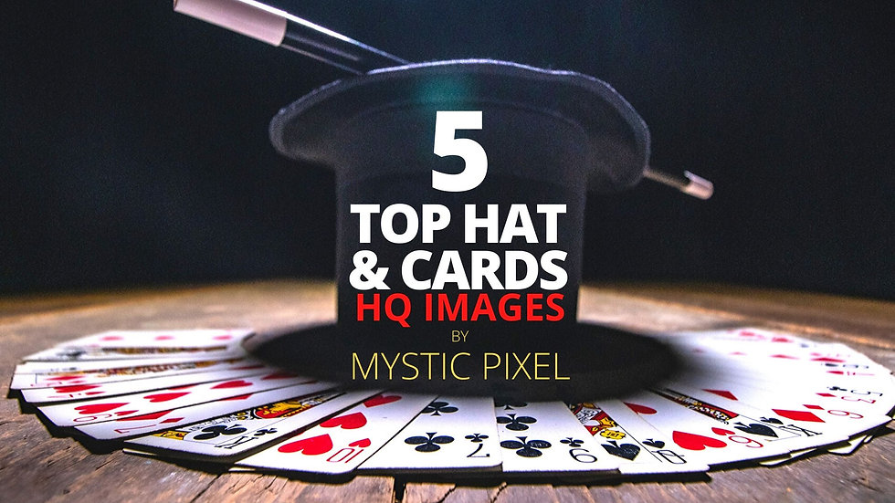 5 Magician Photographs with Top Hat & Cards