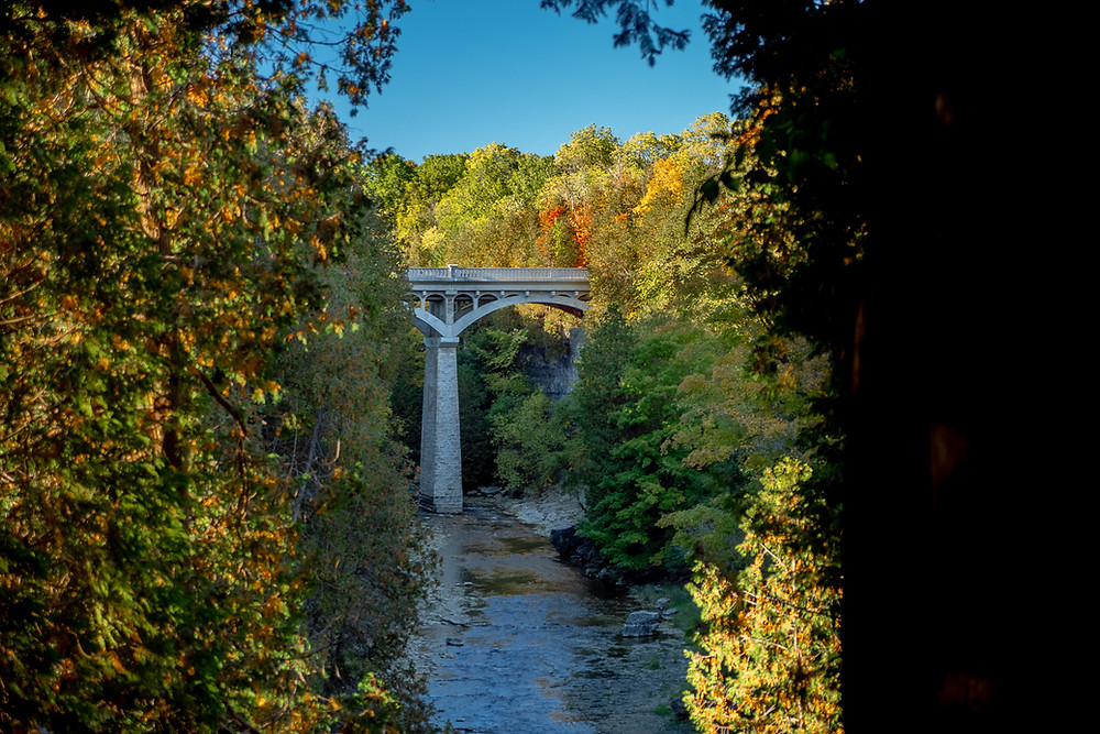 Elora Gorge during the fall is gorgeous and a great backdrop for magic