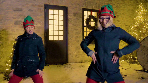 Zumba Sarah and Zumba Jodi dancing elves at the Elora Mill