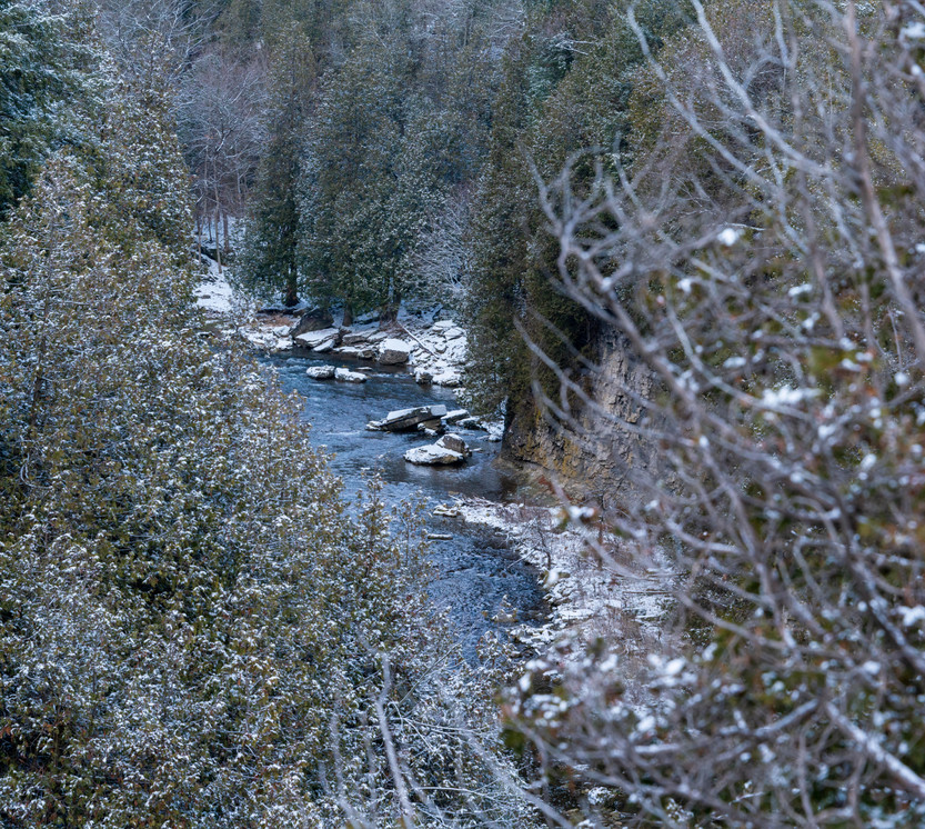 Snowy look down the Elora Gorge