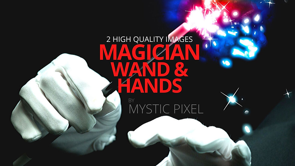 2 Magician Hands and Wand Pictures - Magician Stock Photos