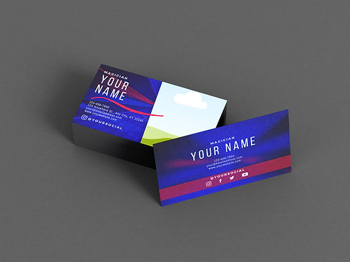 Magician Business Card Template: Smoke & Laser