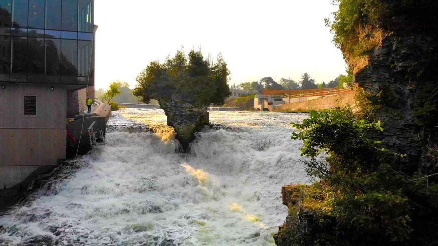 Elora Mill cascading watefalls along the Grand River