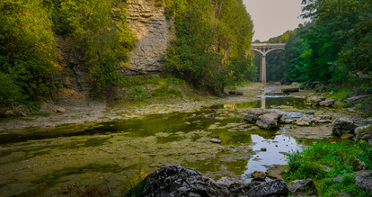 Elora Gorge from the river floor during the summer with