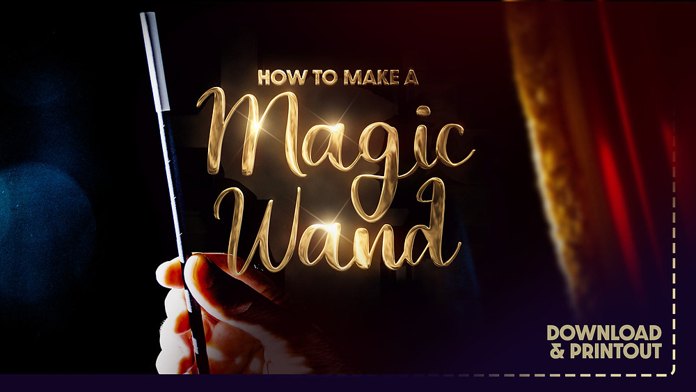 A magic wand held by a magician's hand behind a theatre stage curtain