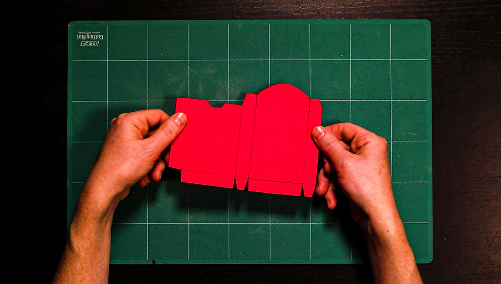 the fully trimmed and cut out playing card box template