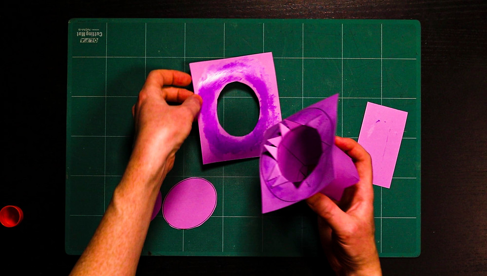 paper top hat template aligned and glued