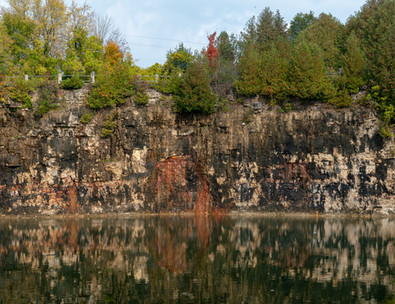 Elora quarry rusty stone cliff walls