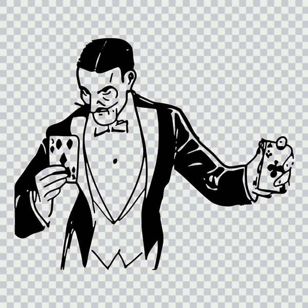 magician, cards, playing cards, vintage, illusionist, black and white