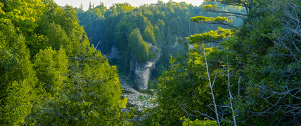 Elora Gorge bend along the Grand River in Elora Ontario