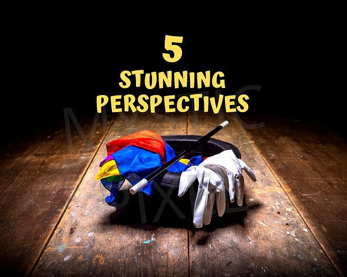 5 Magician Top Hat, Gloves & Silk Scarves on Vintage Stage