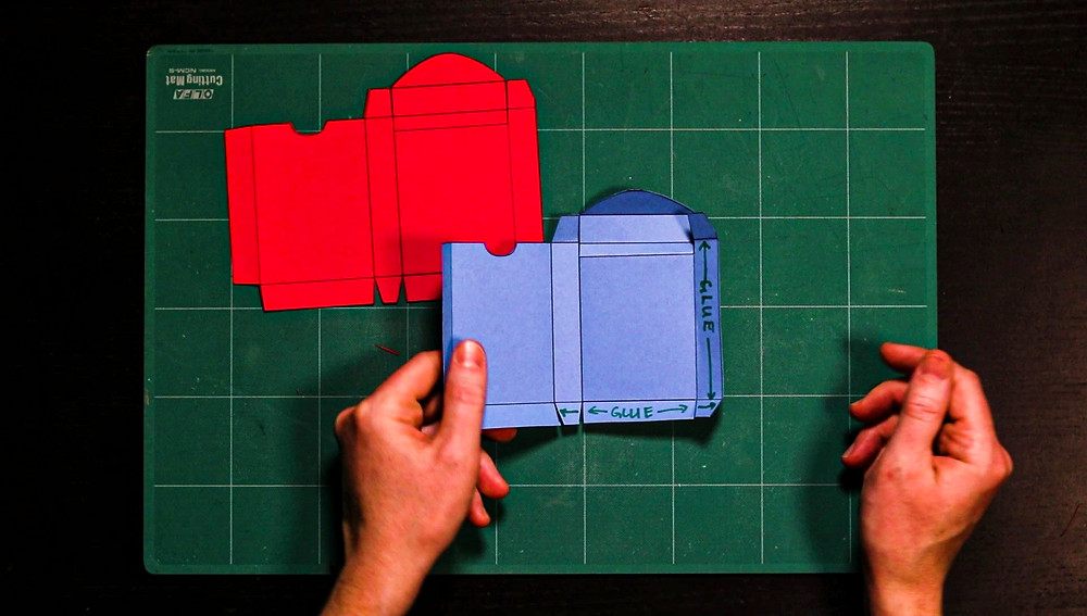 blue playing card box template shows where to add glue
