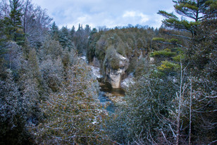 A snowy Elora Gorge from a distance