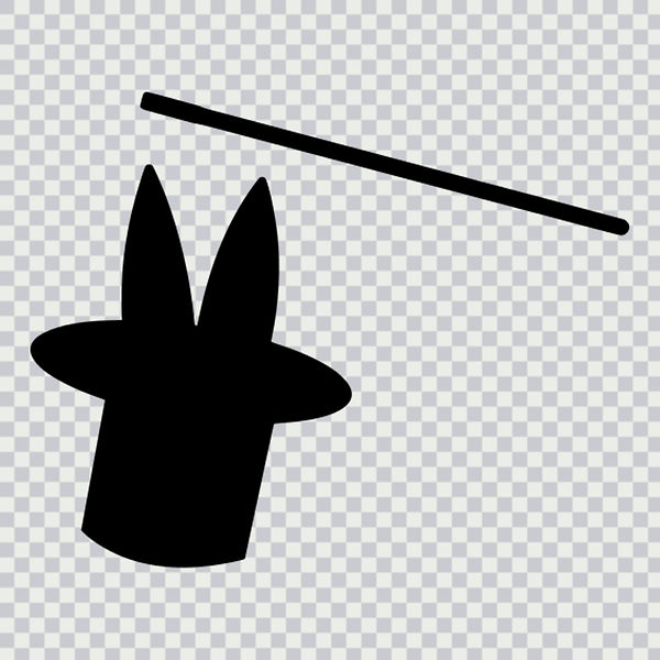 top hat, magic wand, magician hat, rabbit, black and white