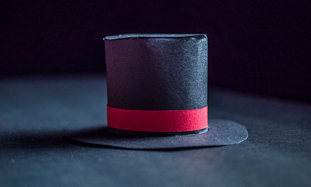magicians top hat craft project made of one piece of black construction paper