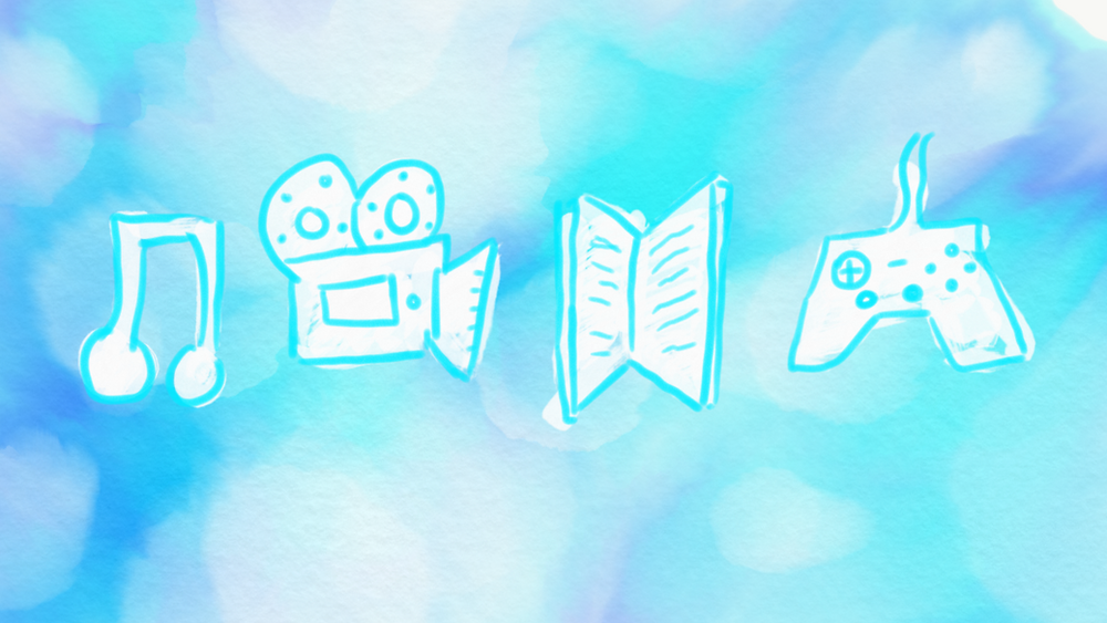 Music, film, literature, and video games are apart of media art