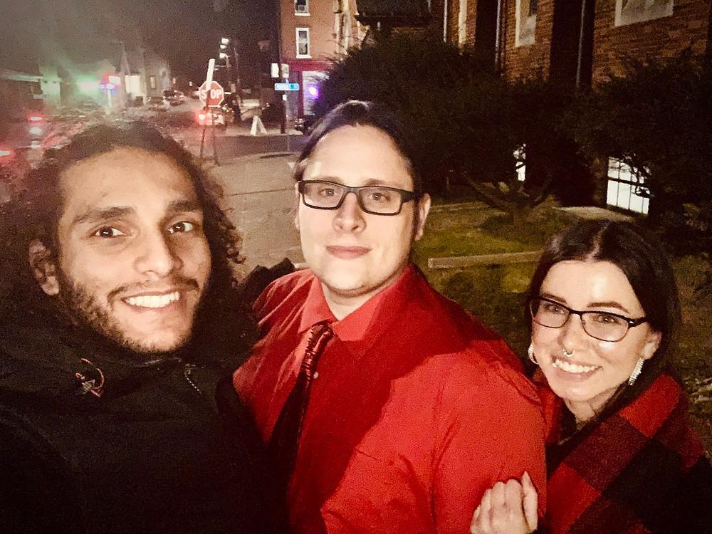 Director Abdullah Abu-Mahfouz, Tyler, and Kirsztina