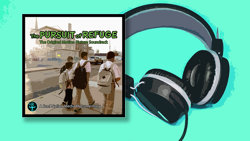 "The album art of ""The Pursuit of Refuge - The Original Motion Picture Soundtrack"" next to a pair of headphones."