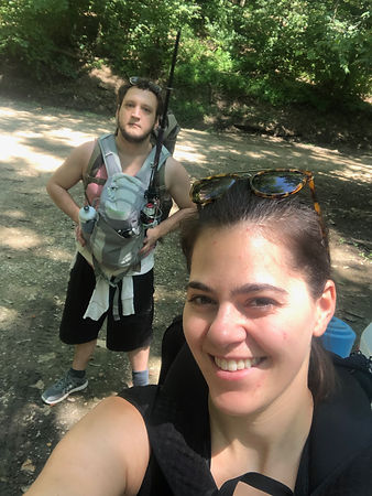 Luke Hanna and Stephanie Wilson Hiking into Charles C Deam Wilderness Area in Hoosier National Forest near Bloomington Indiana